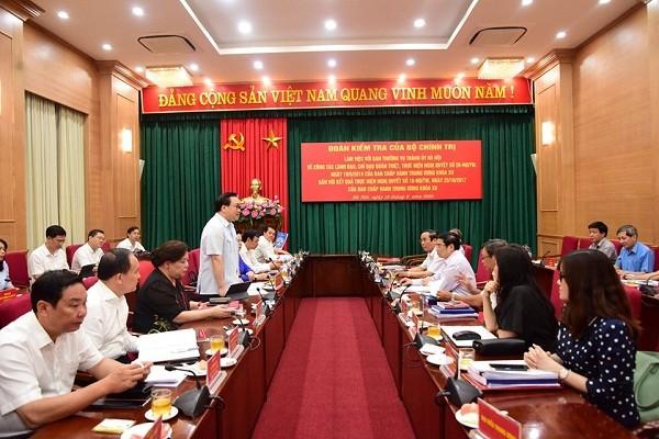 Bí thư Thành ủy Hoàng Trung Hải phát biểu tại buổi làm việc