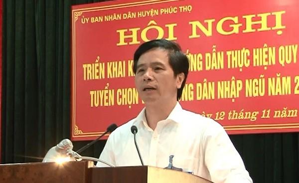 Ông Hoàng Mạnh Phú - Bí thư Huyện ủy Phúc Thọ