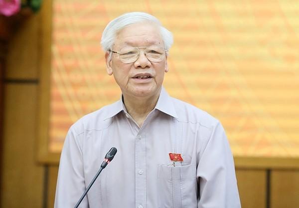 Tổng Bí thư, Chủ tịch nước Nguyễn Phú Trọng phát biểu tại buổi tiếp xúc cử tri