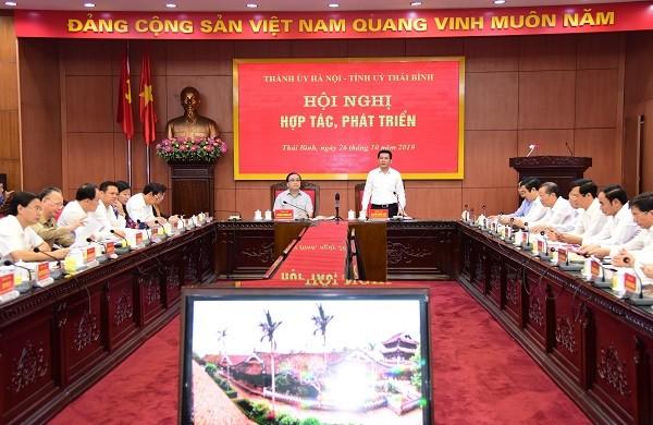Bí thư Tỉnh ủy Thái Bình Nguyễn Hồng Diên phát biểu tại hội nghị