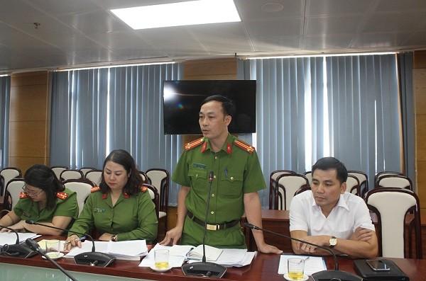 Trung tá Ngô Hoàng Hải, Phòng Cảnh sát Kinh tế - CATP Hà Nội phát biểu tại buổi làm việc