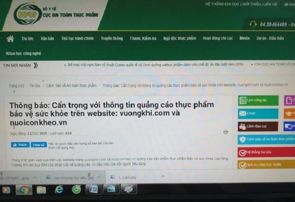 Một thông tin cảnh báo được đăng công khai trên website chính thức của Cục ATTP