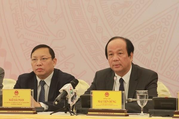 Chủ nhiệm Văn phòng Chính phủ Mai Tiến Dũng thông tin tại buổi họp báo