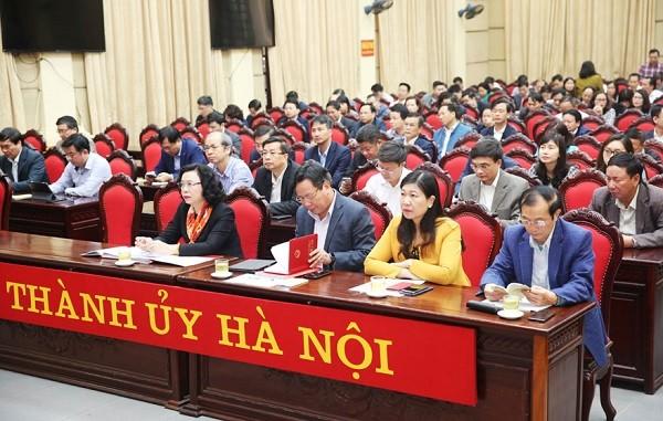 Các đại biểu dự hội nghị tại điểm cầu Thành ủy Hà Nội