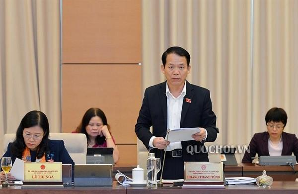 Chủ nhiệm Ủy ban Pháp luật Hoàng Thanh Tùng trình bày báo cáo thẩm tra tại phiên họp (Ảnh: quochoi.vn)