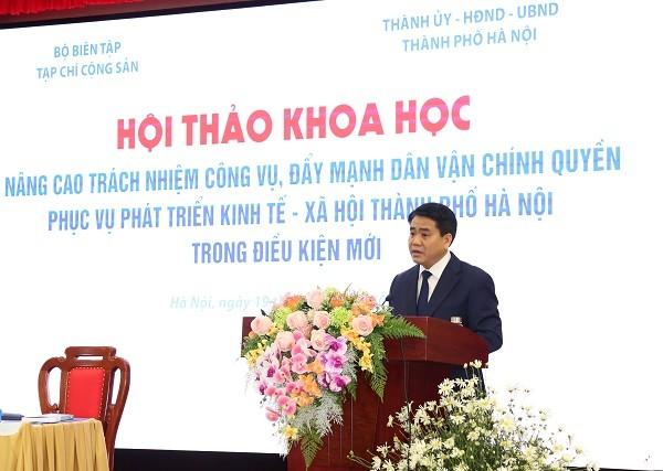 Chủ tịch UBND TP Hà Nội Nguyễn Đức Chung phát biểu đề dẫn hội thảo