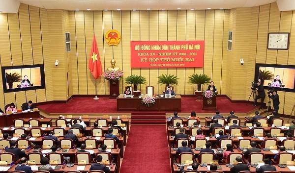 Quang cảnh kỳ họp thứ 12 HĐND TP Hà Nội