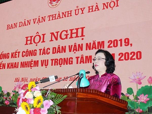 Phó Bí thư Thường trực Thành ủy Ngô Thị Thanh Hằng phát biểu chỉ đạo tại hội nghị