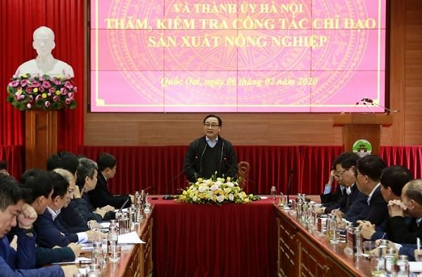 Bí thư Thành ủy phát biểu tại buổi làm việc ở huyện Quốc Oai