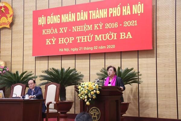 Chủ tịch HĐND TP Hà Nội Nguyễn Thị Bích Ngọc phát biểu khai mạc kỳ họp