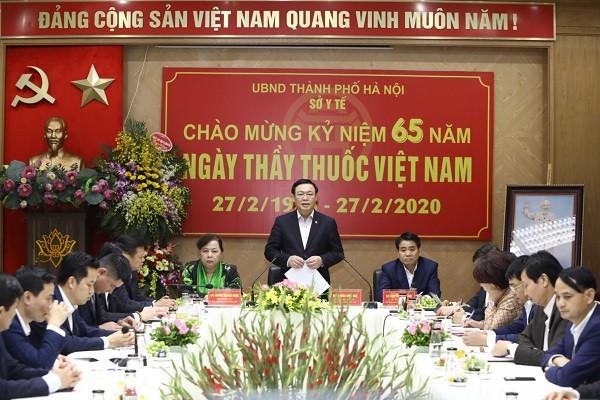 Bí thư Thành ủy phát biểu chúc mừng Sở Y tế Hà Nội