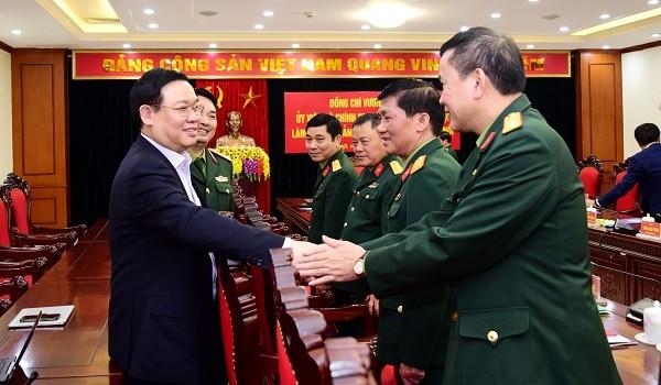 Bí thư Thành ủy Vương Đình Huệ làm việc với Đảng ủy Bộ Tư lệnh Thủ đô