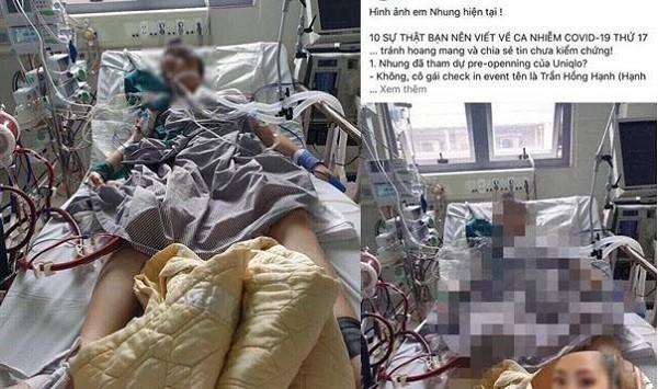 Hình ảnh nữ bệnh nhân nguy kịch lan truyền trên Facebook này là giả mạo, không phải bệnh nhân N.H.N nhiễm Covid-19