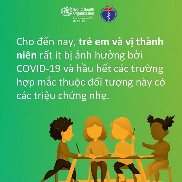 Trẻ em và vị thành niên ít bị ảnh hưởng bởi Covid-19