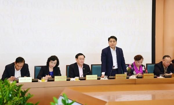Chủ tịch UBND TP Nguyễn Đức Chung phát biểu tại buổi làm việc
