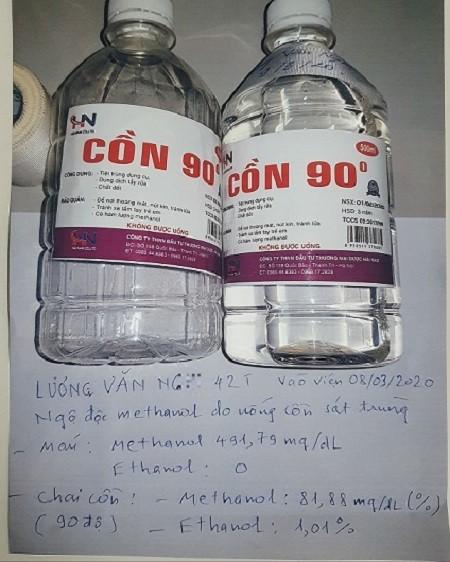 Chai cồn mà bệnh nhân đã sử dụng