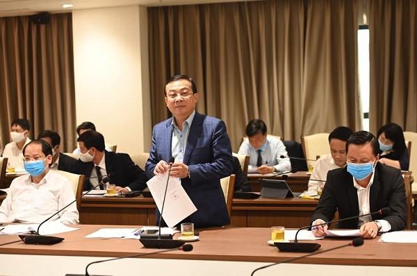 Bí thư Đảng ủy Khối doanh nghiệp Hà Nội Trịnh Huy Thành phát biểu tại buổi làm việc