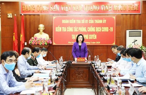 Phó Bí thư Thường trực Thành ủy Ngô Thị Thanh Hằng kiểm tra tại Phú Xuyên