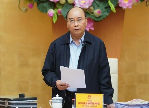 Thủ tướng Chính phủ Nguyễn Xuân Phúc chỉ đạo tại cuộc họp chống dịch Covid-19