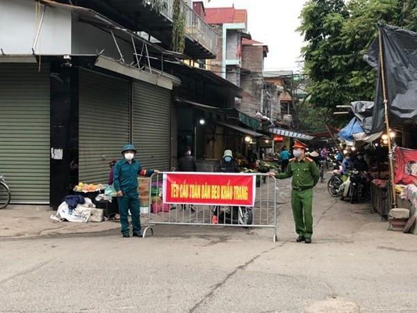 Một chốt kiểm soát phòng dịch Covid-19 tại huyện Mê Linh