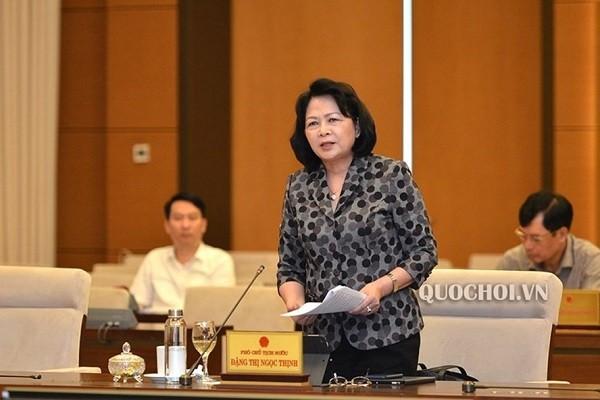 Phó Chủ tịch nước Đặng Thị Ngọc Thịnh phát biểu tại phiên họp
