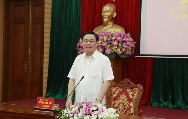 Bí thư Thành ủy Vương Đình Huệ phát biểu tại buổi làm việc với quận Nam Từ Liêm