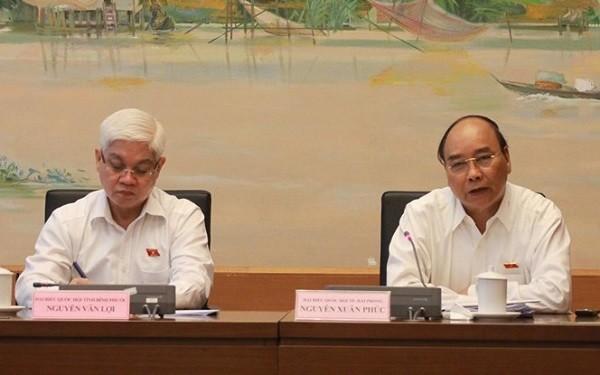 Thủ tướng Nguyễn Xuân Phúc phát biểu thảo luận tổ tại Quốc hội