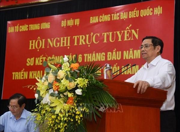 Trưởng Ban Tổ chức Trung ương Phạm Minh Chính phát biểu kết luận hội nghị