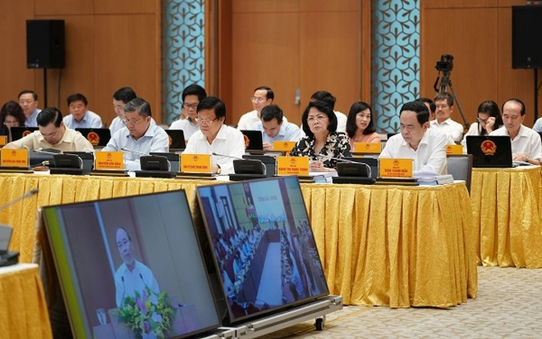 Các đại biểu dự hội nghị ở điểm cầu Chính phủ