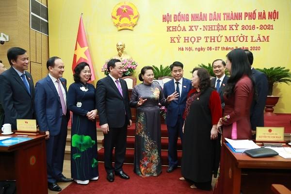Chủ tịch Quốc hội Nguyễn Thị Kim Ngân dự phiên khai mạc kỳ họp 15 HĐND TP Hà Nội