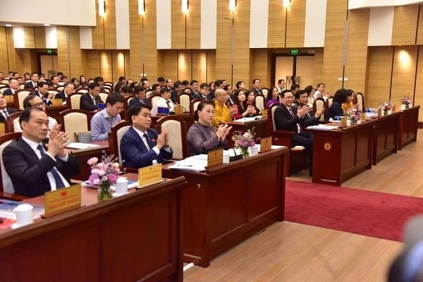 Các đại biểu dự phiên khai mạc kỳ họp thứ 15 HĐND TP Hà Nội