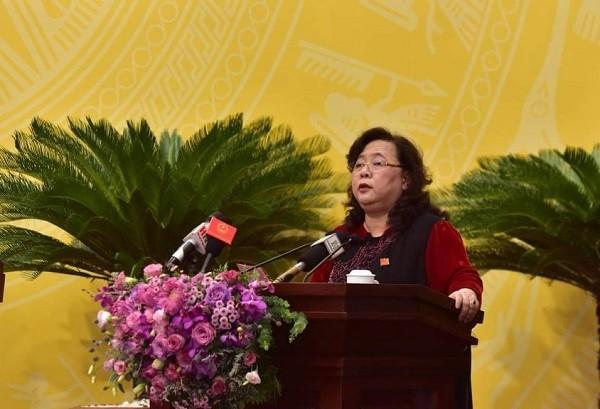 Chủ tịch HĐND TP Nguyễn Thị Bích Ngọc phát biểu khai mạc kỳ họp
