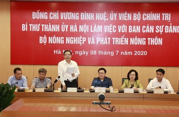 Bộ trưởng Nguyễn Xuân Cường phát biểu tại buổi làm việc