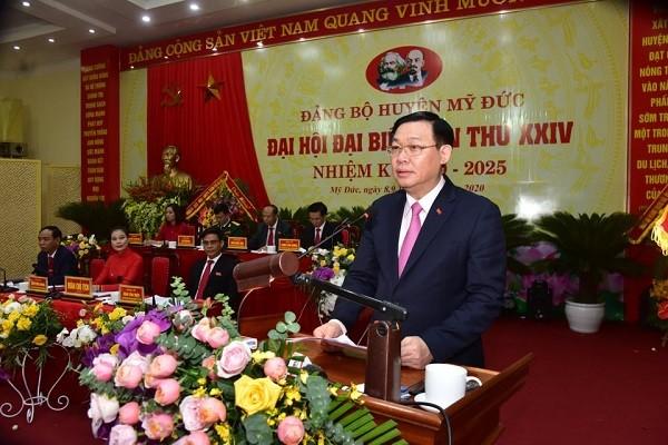 Bí thư Thành ủy Vương Đình Huệ phát biểu chỉ đạo đại hội