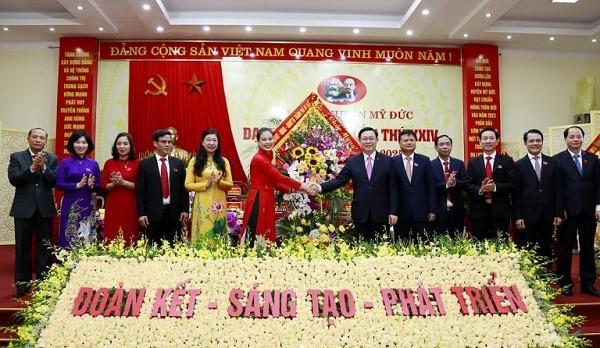 Lãnh đạo thành phố Hà Nội dự đại hội đại biểu lần thứ XXIV Đảng bộ huyện Mỹ Đức