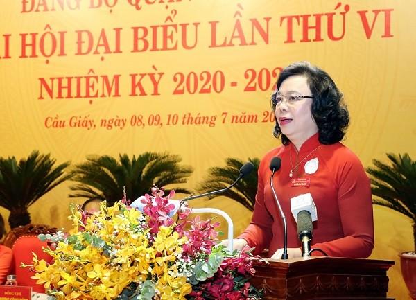 Phó Bí thư Thường trực Thành ủy Ngô Thị Thanh Hằng phát biểu chỉ đạo đại hội