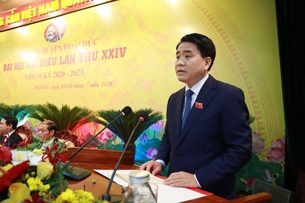 Chủ tịch UBND TP Nguyễn Đức Chung phát biểu chỉ đạo đại hội Đảng bộ huyện Hoài Đức