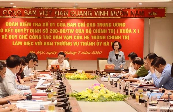 Trưởng Ban Dân vận Trung ương Trương Thị Mai làm việc với Hà Nội
