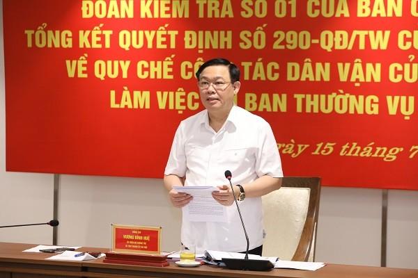 Bí thư Thành ủy Vương Đình Huệ phát biểu tiếp thu