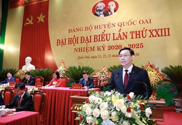 Bí thư Thành ủy Vương Đình Huệ phát biểu chỉ đạo tại đại hội