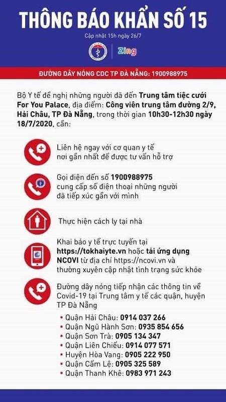 Thông báo số 15 của Bộ Y tế
