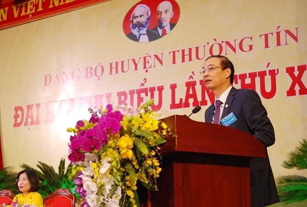Phó Bí thư Thành ủy Hà Nội Đào Đức Toàn phát biểu chỉ đạo tại đại hội