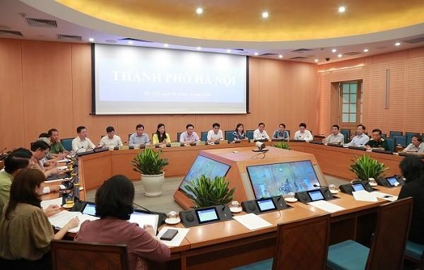 Lãnh đạo thành phố Hà Nội dự hội nghị trực tuyến từ điểm cầu UBND TP