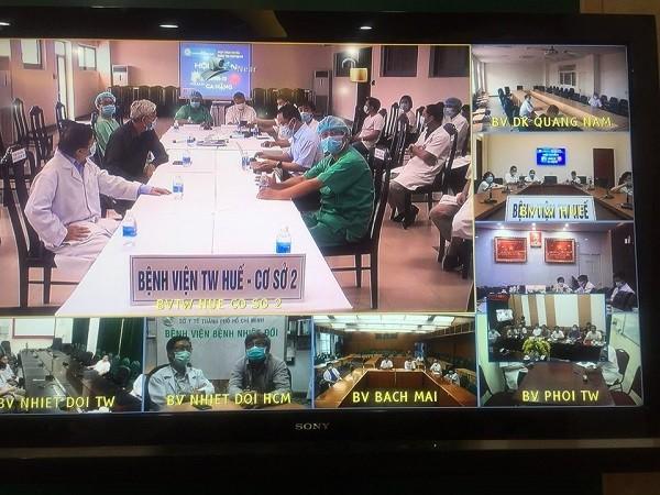 Hình ảnh buổi hội chẩn trực tuyến từ các điểm cầu bệnh viện