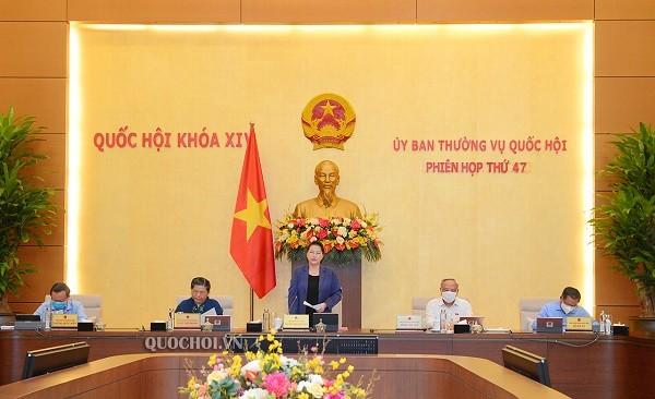 Chủ tịch Quốc hội Nguyễn Thị Kim Ngân phát biểu khai mạc phiên họp thứ 47 của Ủy ban Thường vụ Quốc hội (Ảnh: quochoi.vn)