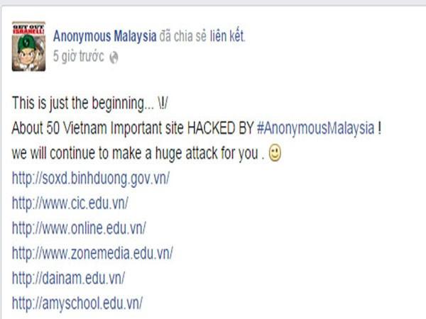 Hơn 50 website của Việt Nam bị hacker Malaysia tấn công ảnh 1
