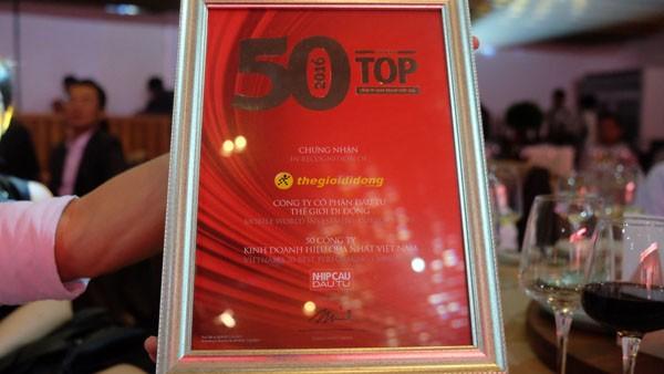 Thế giới di động xếp vị trí 4/50 công ty kinh doanh hiệu quả nhất Việt Nam