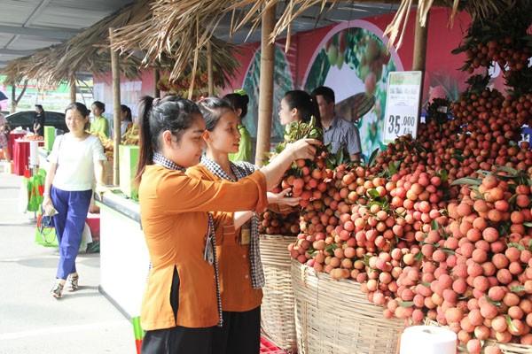 Vải thiều trồng theo tiêu chuẩn VietGAP được bán tại Hà Nội
