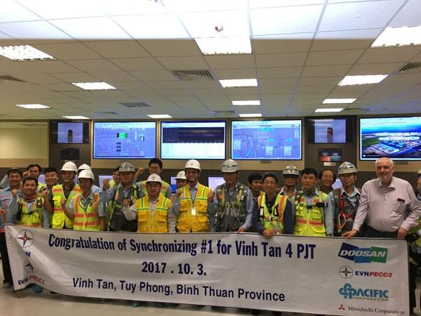 Tổ máy số 1, nhà máy nhiệt điện Vĩnh Tân 4 hòa lưới điện thành công