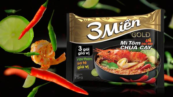"""Mì """"3 Miền"""" Gold tôm chua cay đặc biệt đậm đà hương vị Việt"""